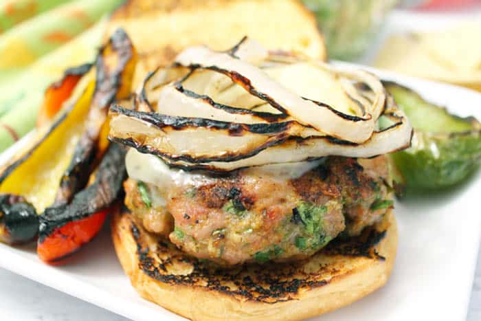 Chicken Burgers with a Mexican Twist closeup | 2 Cookin Mamas