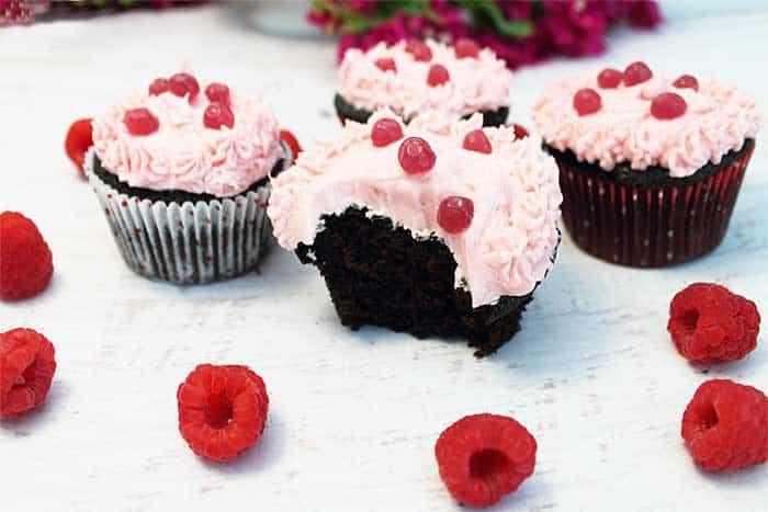 Chocolate Raspberry Cocktail Cupcakes closeup 1 | 2 Cookin Mamas