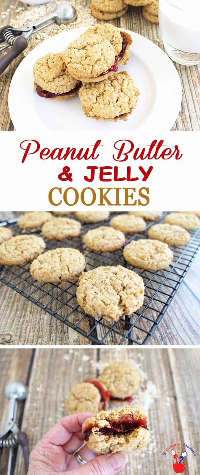 Peanut Butter and Jelly Cookies | 2 Cookin Mamas A peanut butter & jelly cookie? Yep! Your favorite sandwich just became a cookie. Sweet jelly is sandwiched between rich peanut butter cookies, for the perfect after school treat.