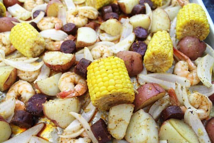 Sheet Pan Shrimp Boil Dinner closeup | 2 Cookin Mamas
