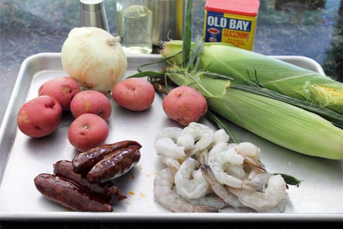Sheet Pan Shrimp Boil Dinner ingredients | 2 Cookin Mamas