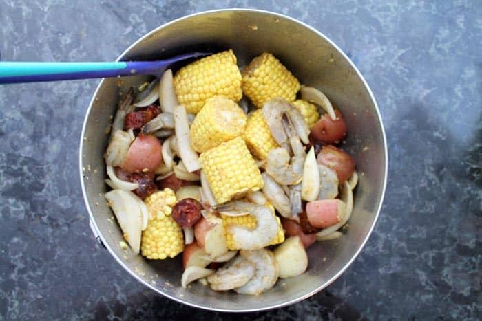 Sheet Pan Shrimp Boil Dinner toss | 2 Cookin Mamas