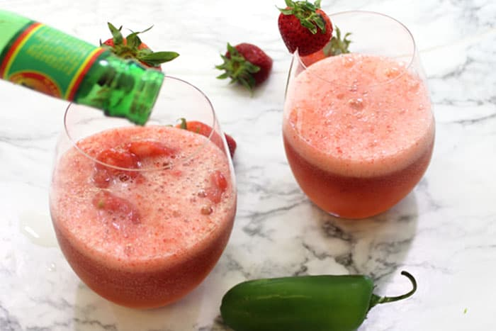 Strawberry Jalapeno Moscow Mule Slushie add ginger beer   2 Cookin Mamas