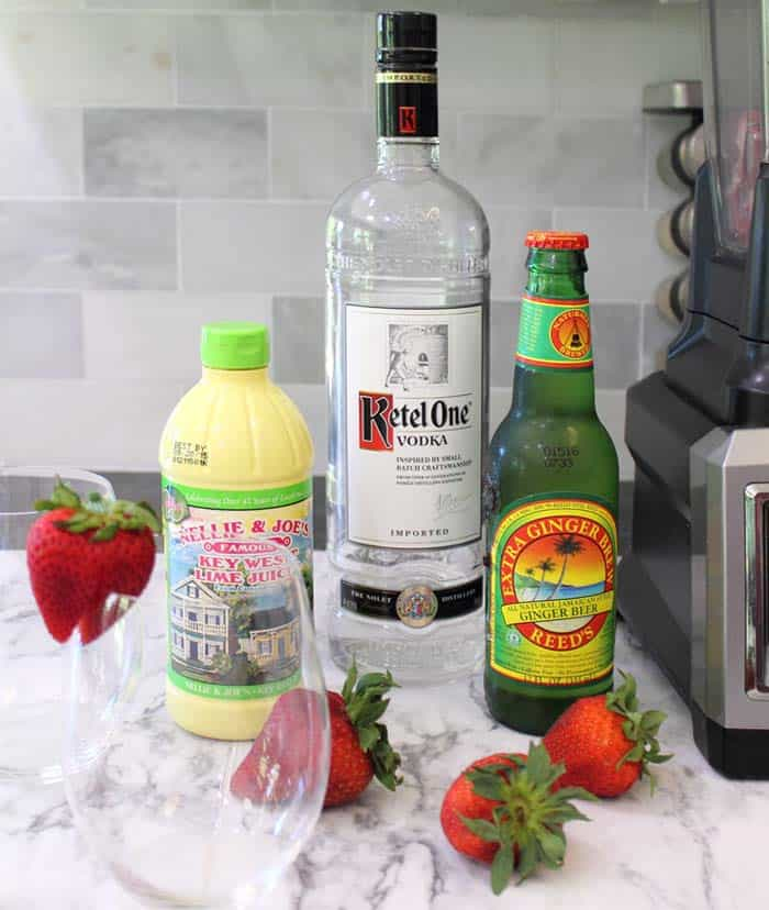 Strawberry Jalapeno Moscow Mule Slushie ingredients | 2 Cookin Mamas