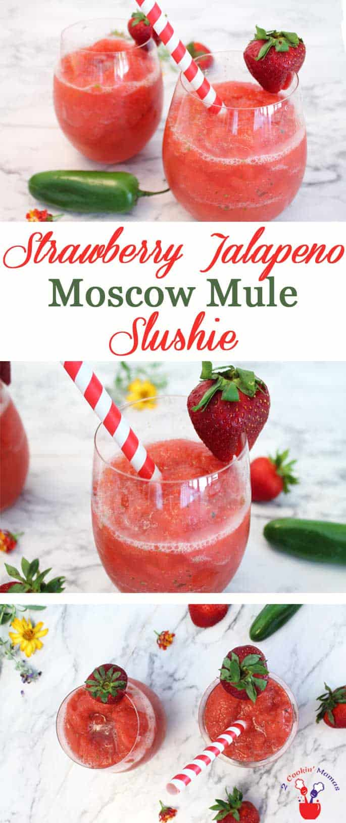 Strawberry Jalapeno Moscow Mule Slushie | 2 Cookin Mamas Ready to add a little cool & spicy to your Moscow Mule? Enter our Strawberry Jalapeno Moscow Mule Slushie, just what the doctor ordered to beat the heat!