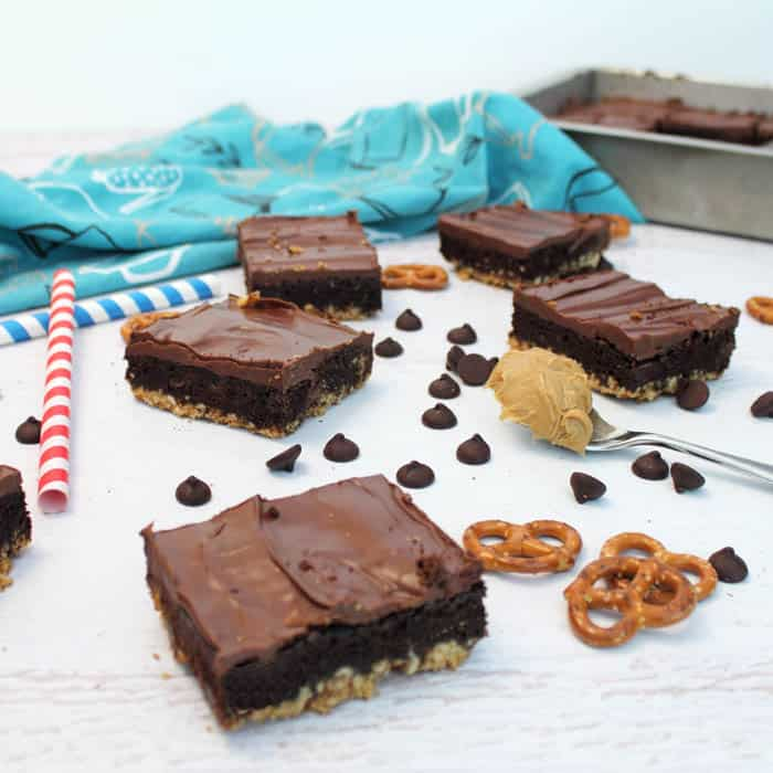 Triple Layer Brownies square | 2 Cookin Mamas