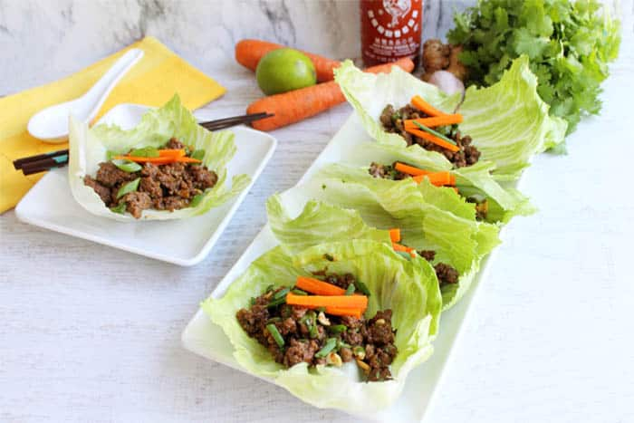 Asian Beef Lettuce Wraps served | 2 Cookin Mamas