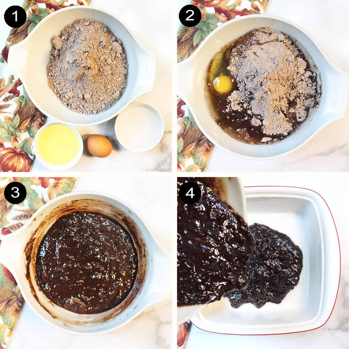 Prep steps for brownie batter.
