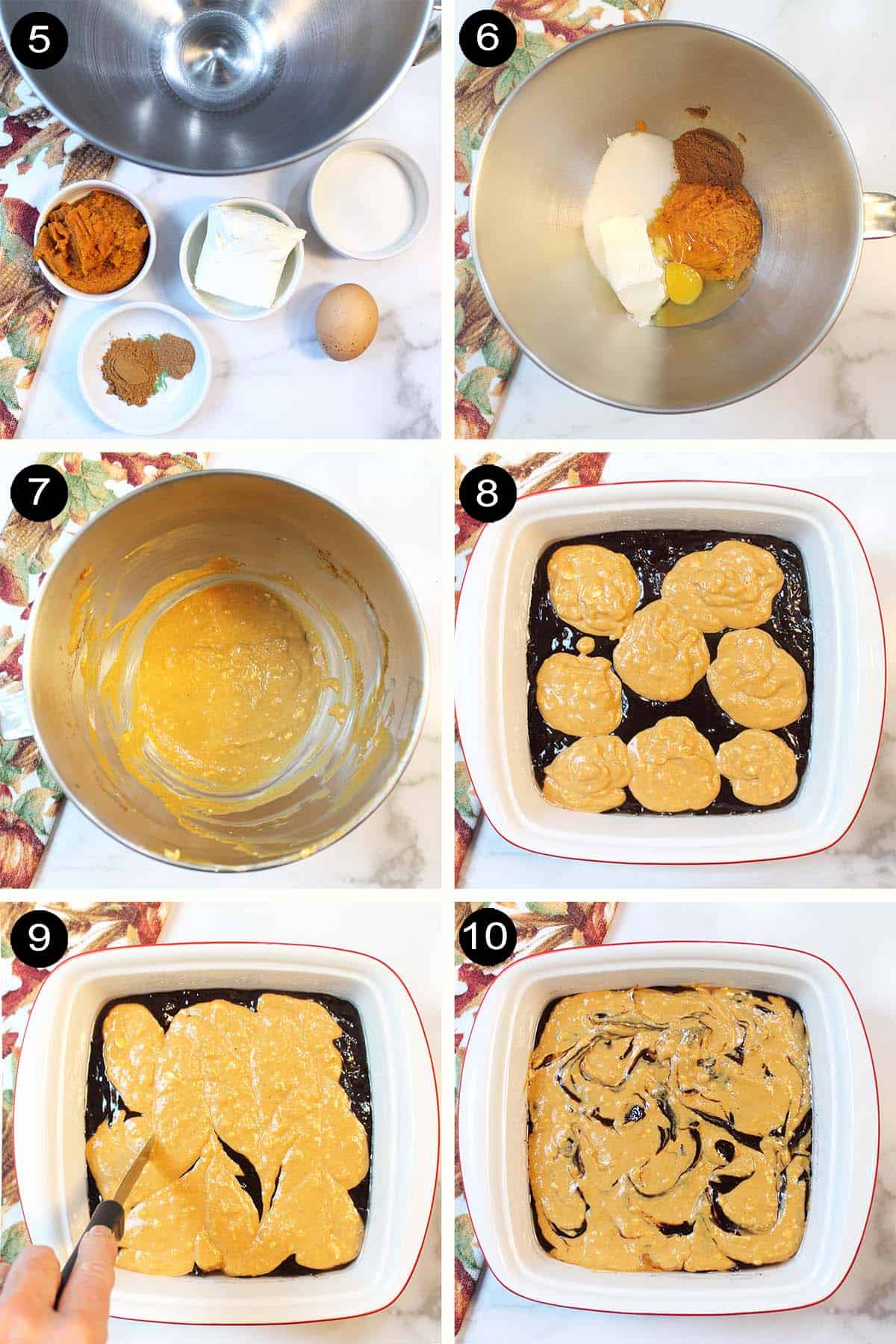 Prep steps for pumpkin cheesecake and swirling into brownies.