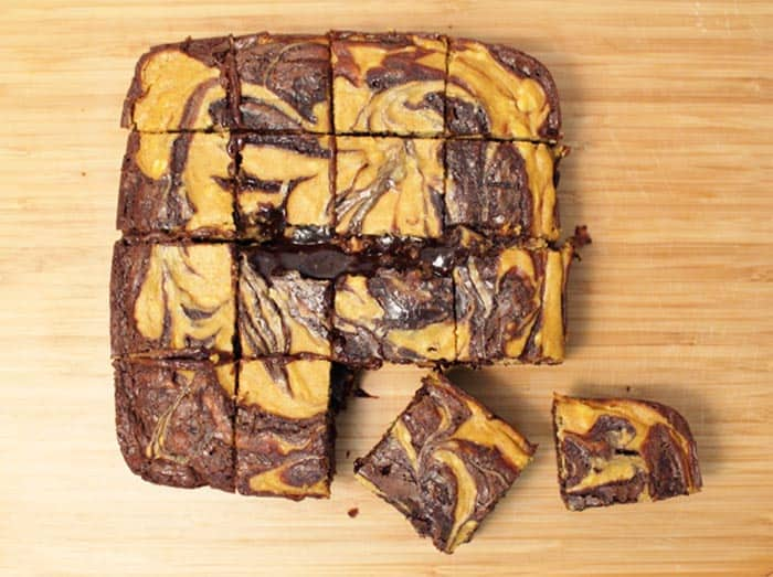 Pumpkin Cheesecake Brownies overhead | 2 Cookin Mamas