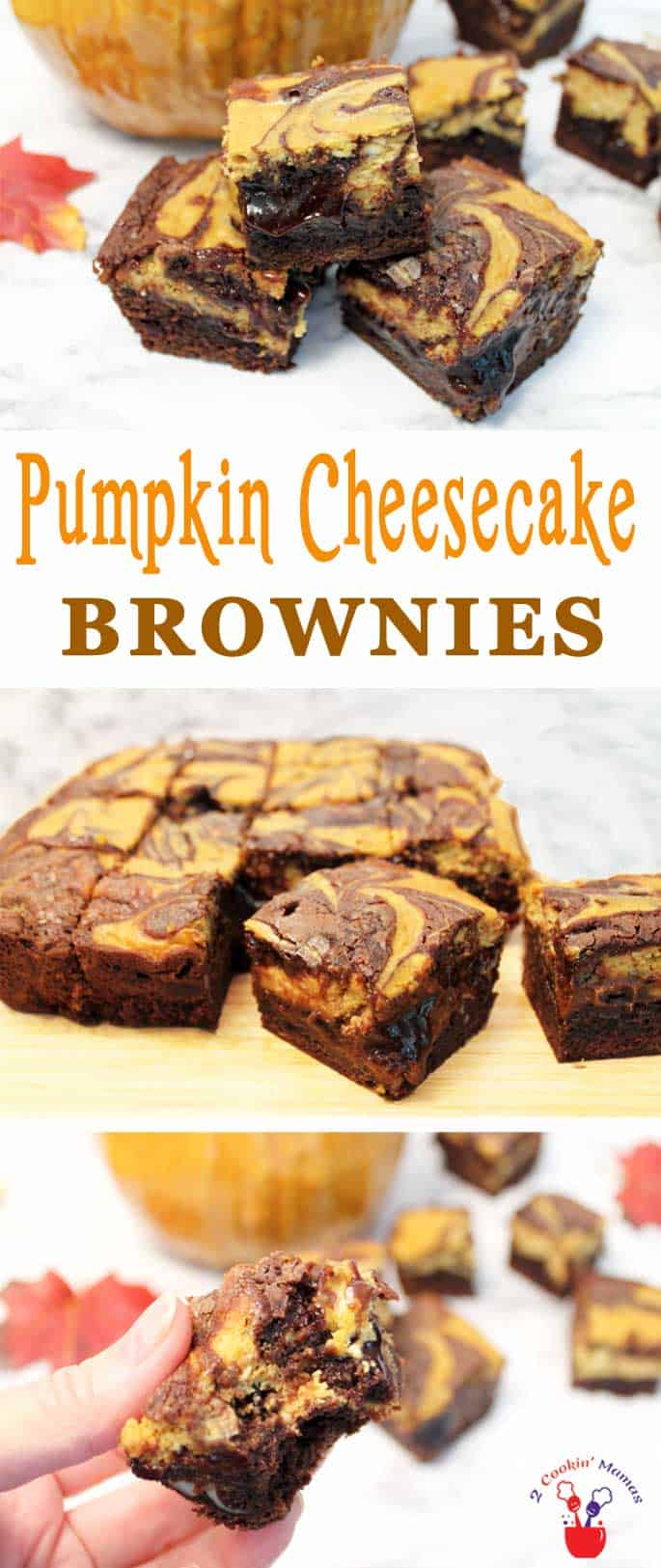 Our Pumpkin Cheesecake Brownies are your favorite chocolaty brownies accented with rich, creamy pumpkin cheesecake. It\'s the perfect fall treat!  #dessert #pumpkin #cheesecakebrownies #falldessert #quickandeasydessert #brownies