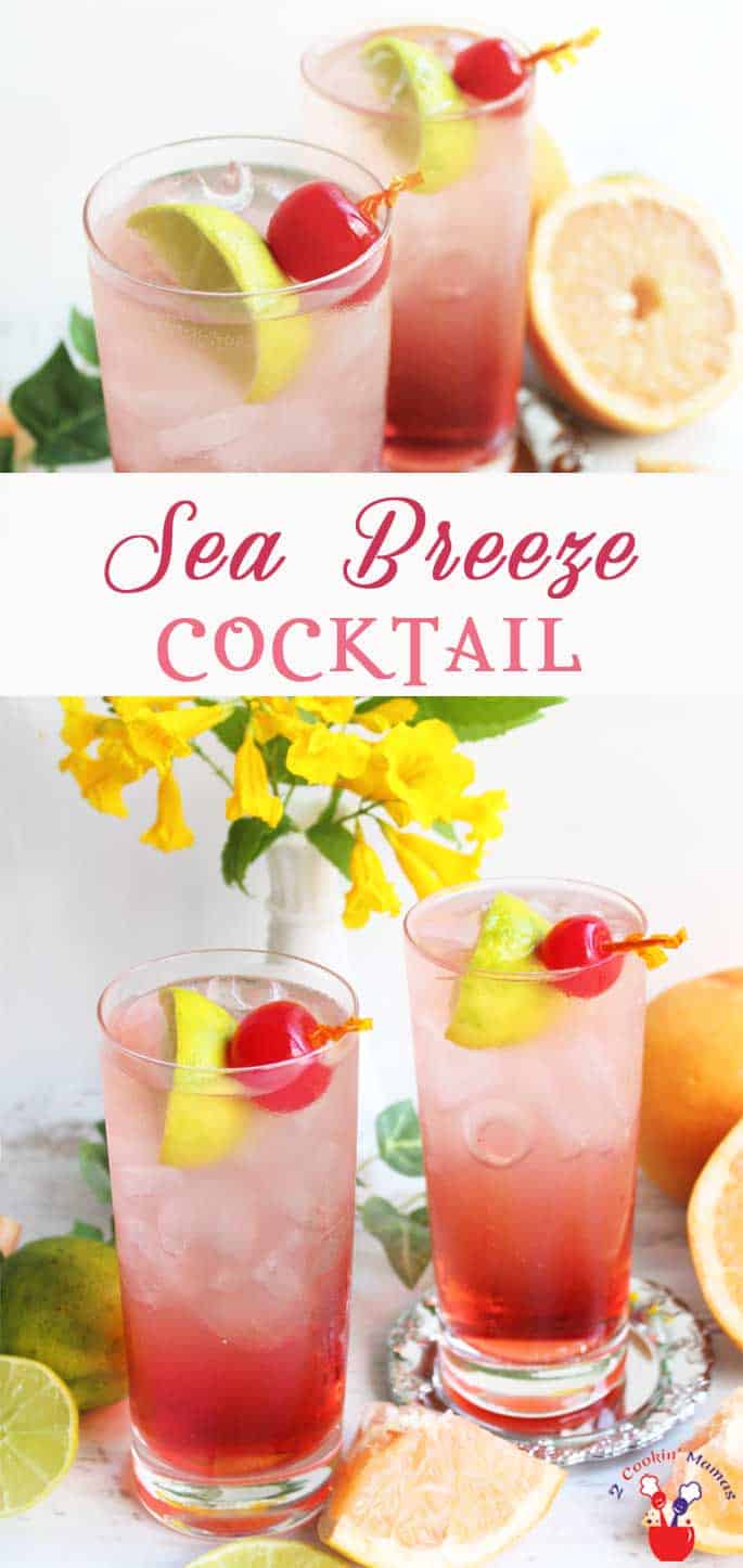 Sea Breeze Cocktail | 2 Cookin Mamas A lighter version of a Sea Breeze Cocktail that's delightfully fresh & bubbly. Cranberry juice, vodka & sparkling grapefruit water. #cocktail #recipe