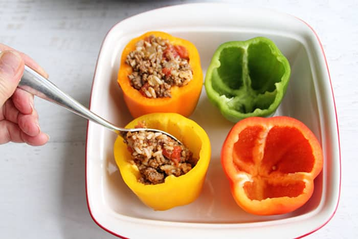 Taco Stuffed Peppers stuffing peppers | 2 Cookin Mamas