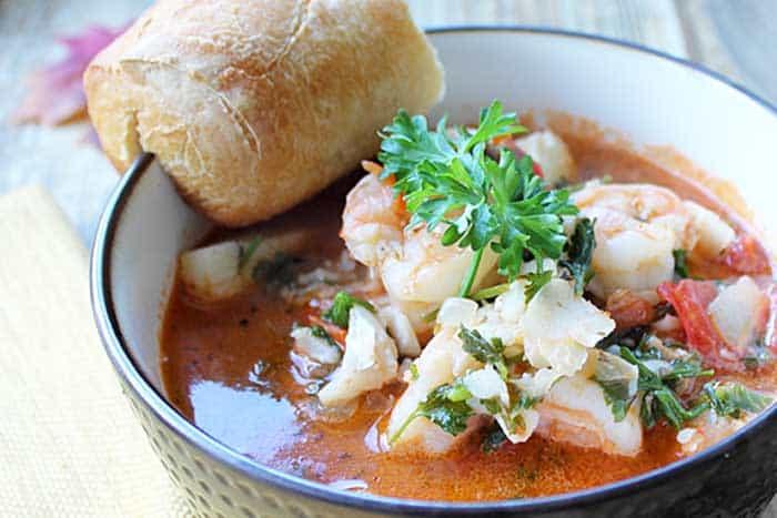 30 Minute Seafood Stew closeup | 2 Cookin Mamas