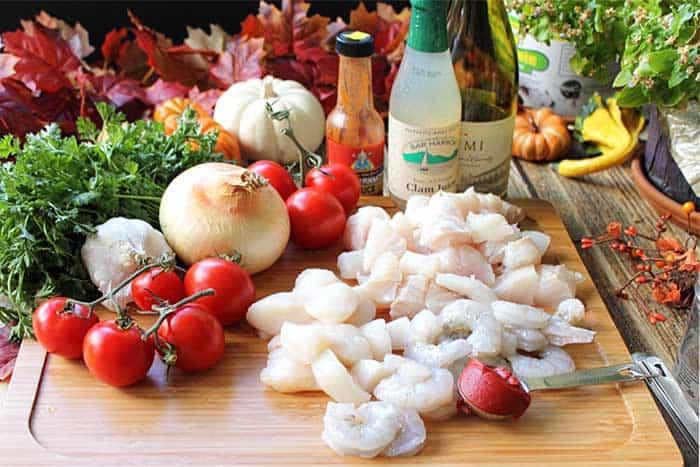 30 Minute Seafood Stew ingredients | 2 Cookin Mamas