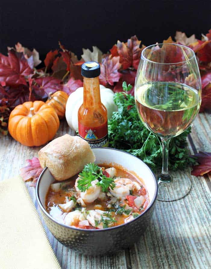 30 Minute Seafood Stew tall dinner | 2 Cookin Mamas