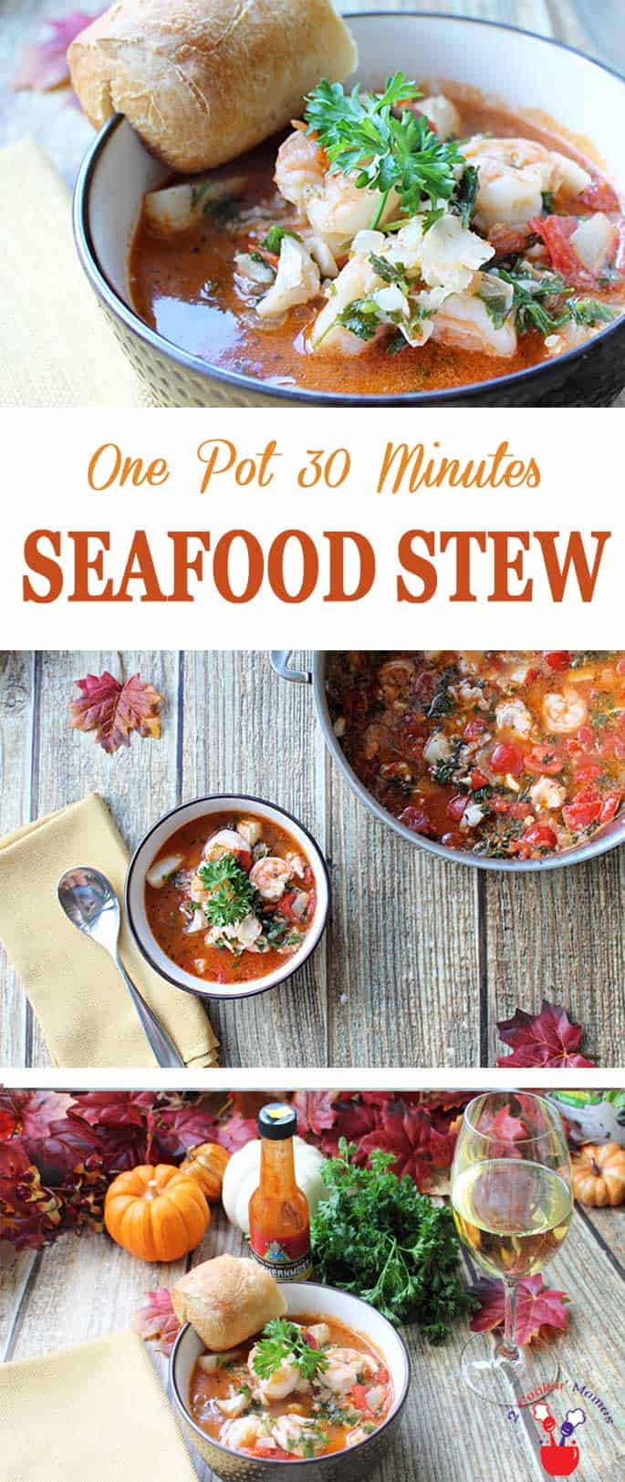 A one pot 30 minute seafood stew that's full of fish, shrimp, scallops, fresh tomatoes & spices. It's a fresh, hearty & healthy dinner for busy weeknights. #recipe #stew #seafood #dinner