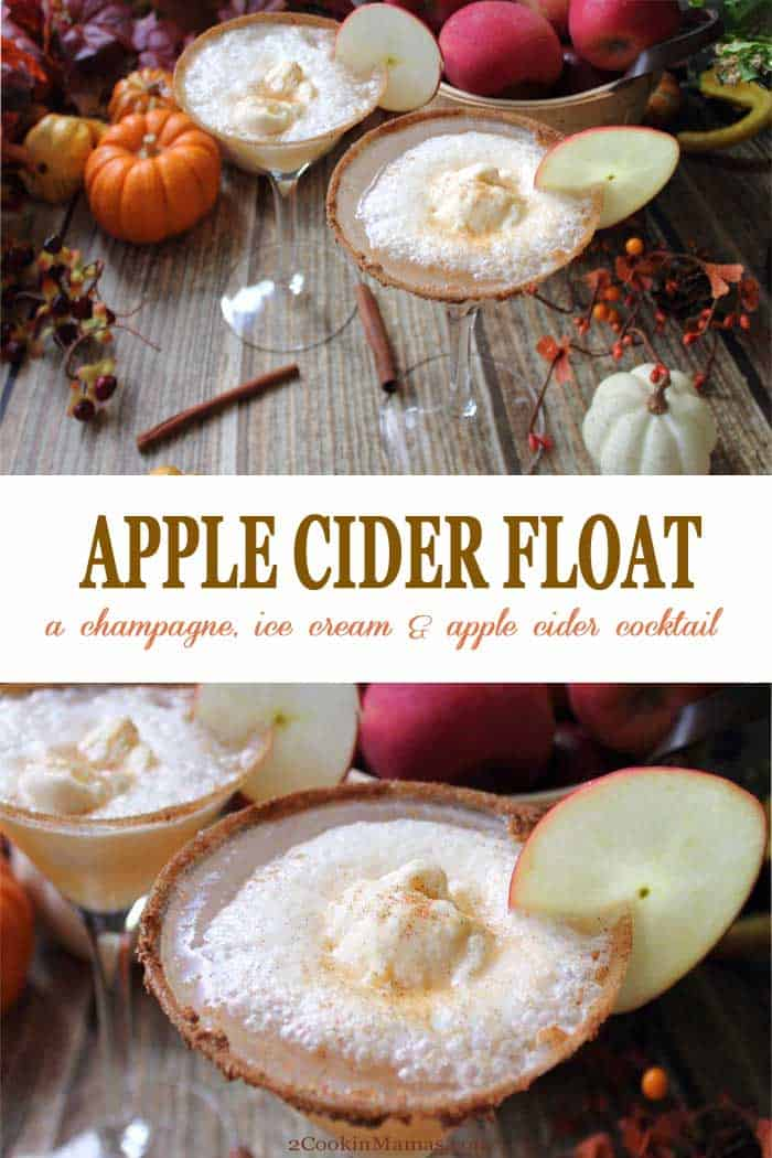 Apple Cider Float cocktail | 2 Cookin Mamas Cheers to fall with our Apple Cider Float Cocktail! A delicious combination of apple cider, a dash of cinnamon, some chilled champagne and topped off with a scoop of vanilla ice cream. It's like a decadent for-adults-only ice cream float! #cocktail #fall #applecider #recipe #icecream #drink