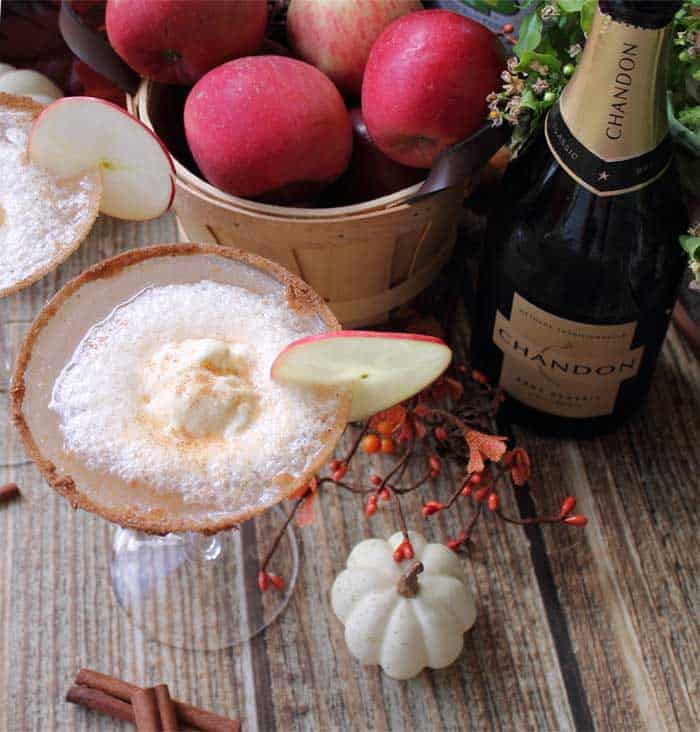 Apple Cider Float Cocktail with champagne| 2 Cookin Mamas
