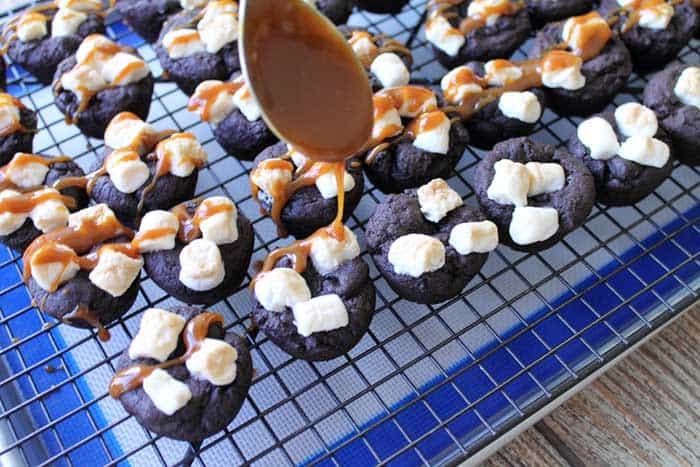 Kahlua Hot Chocolate Cookies drizzle caramel | 2 Cookin Mamas