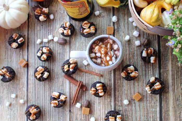 Kahlua Hot Chocolate Cookies overhead | 2 Cookin Mamas