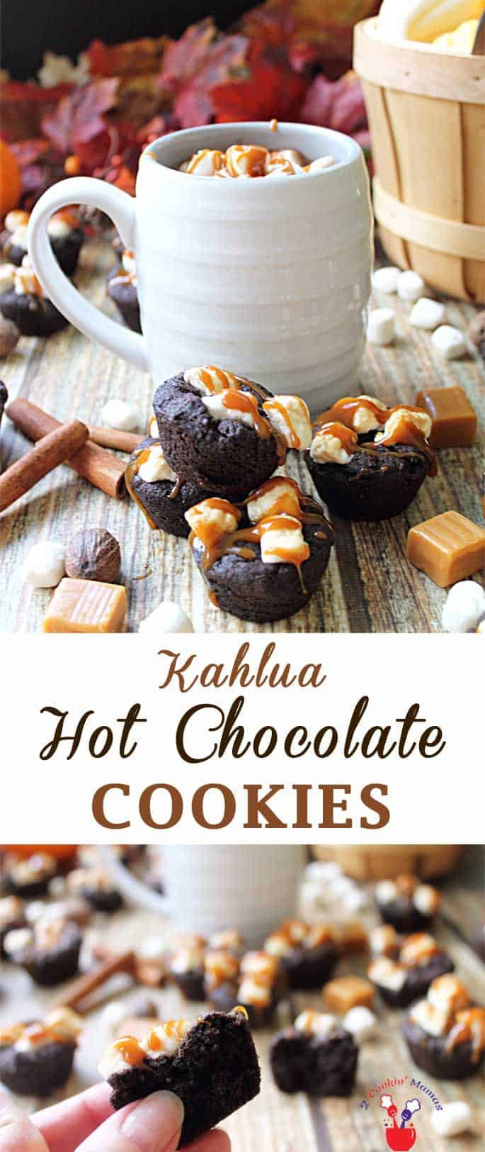 Kahlua Hot Chocolate Cookies | 2 Cookin Mamas Kahlua Hot Chocolate Cookies are rich & full of chocolate, cinnamon & coffee flavor. Topped with marshmallows & a caramel drizzle, they're a decadent treat. #cookies #recipe #hotchocolate