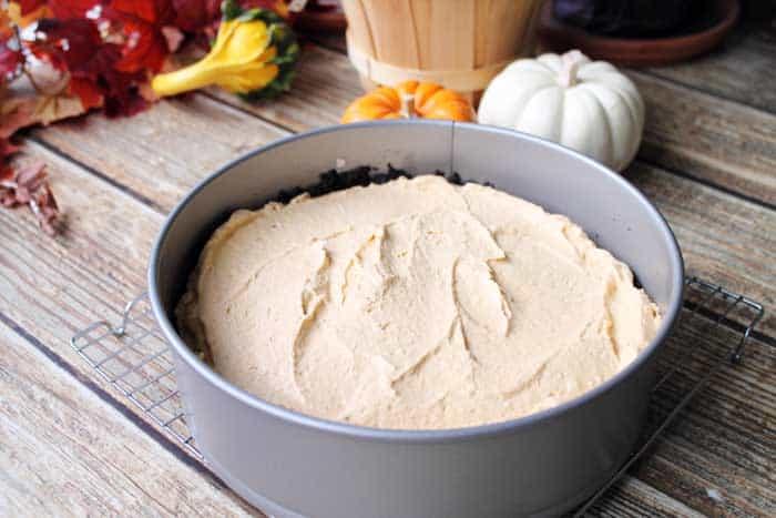 No Bake Pumpkin Cheesecake smoothing filling   2 Cookin Mamas