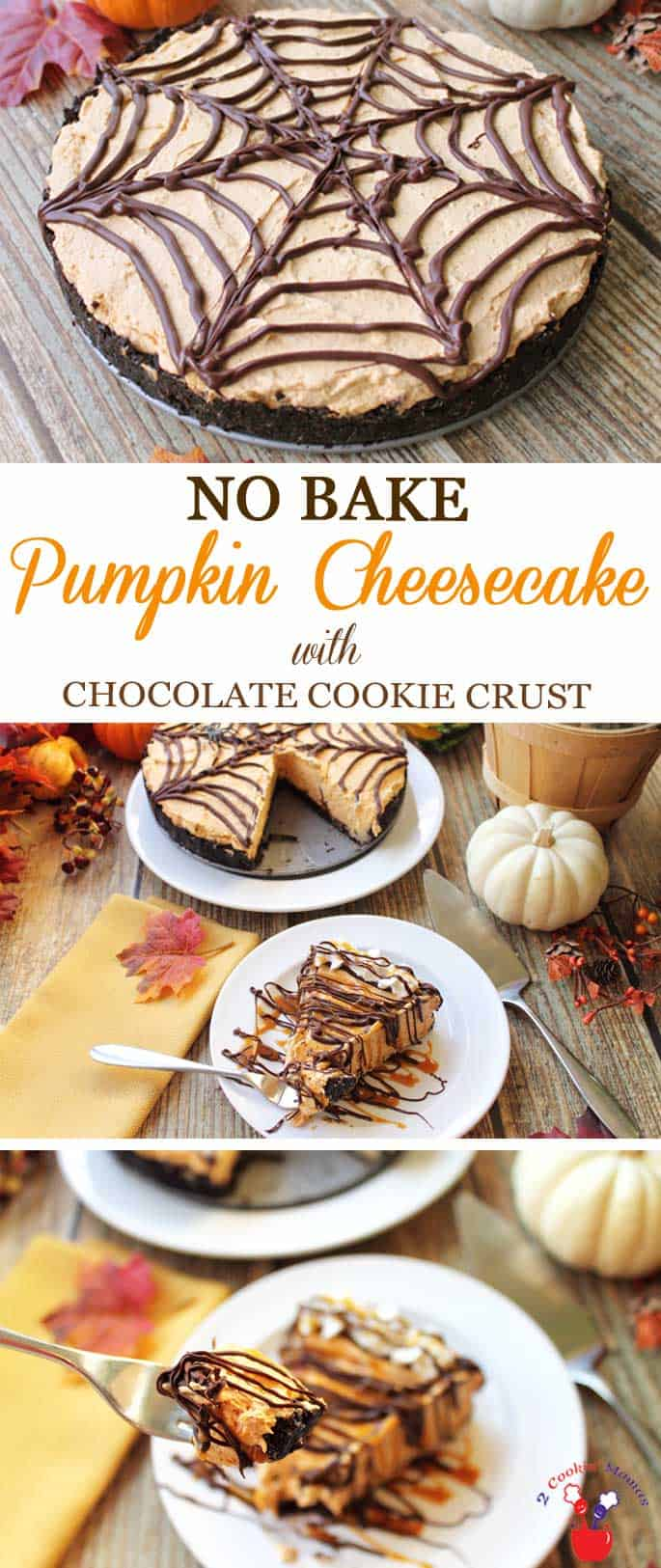 No Bake Pumpkin Cheesecake | 2 Cookin Mamas Our No Bake Pumpkin Cheesecake is light & fluffy with a delicious spiced pumpkin cheesecake filling on a chocolate cookie crust. Drizzle it with caramel & chocolate for an irresistible dessert! #dessert #cheesecake #recipe