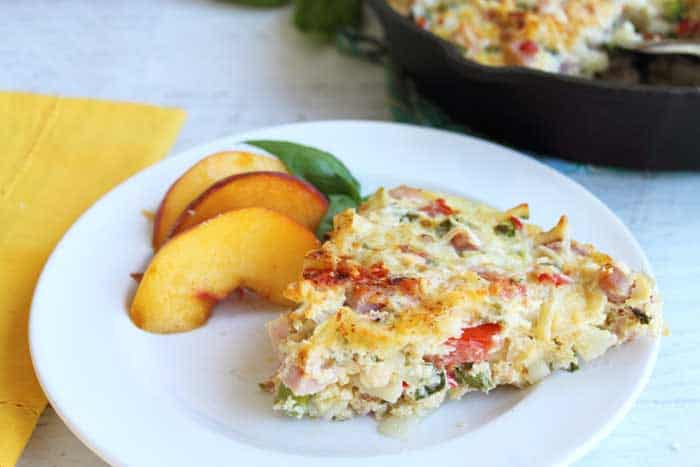 One Skillet Cheesy Ham Potato Bake serving 1 | 2 Cookin Mamas