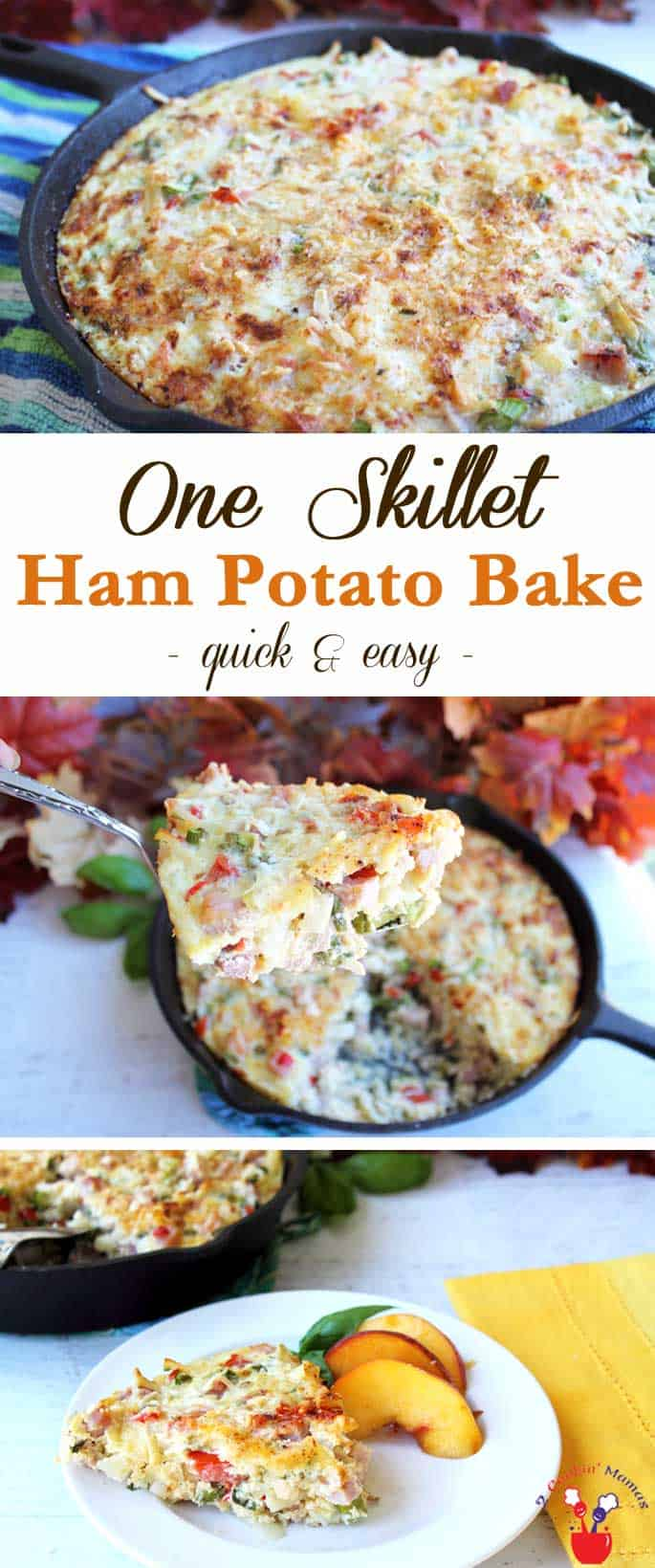 One Skillet Cheesy Ham Potato Bake | 2 Cookin Mamas Easy to make & easy to clean up, this one skillet cheesy ham potato bake is a complete hearty dinner, full of cheesy goodness, potatoes and ham. #recipe #dinner #quickandeasy
