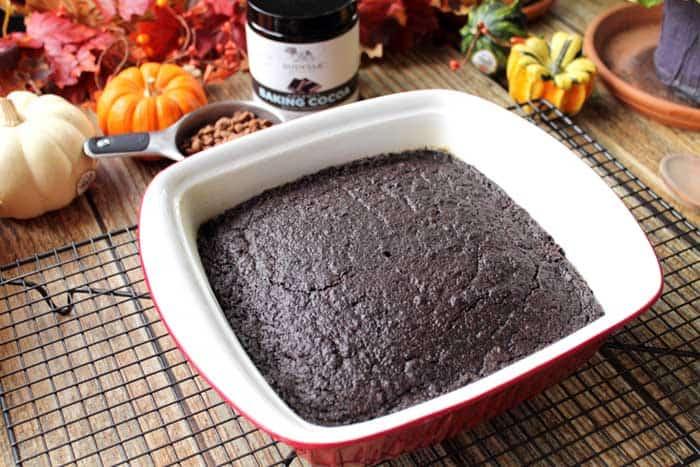 Peanut Butter Brownie Poke Cake baked | 2 Cookin Mamas