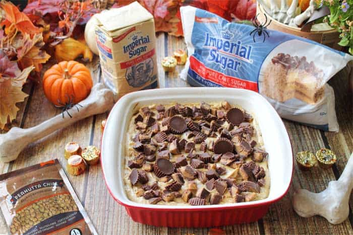 Peanut Butter Brownie Poke Cake with sponsors | 2 Cookin Mamas