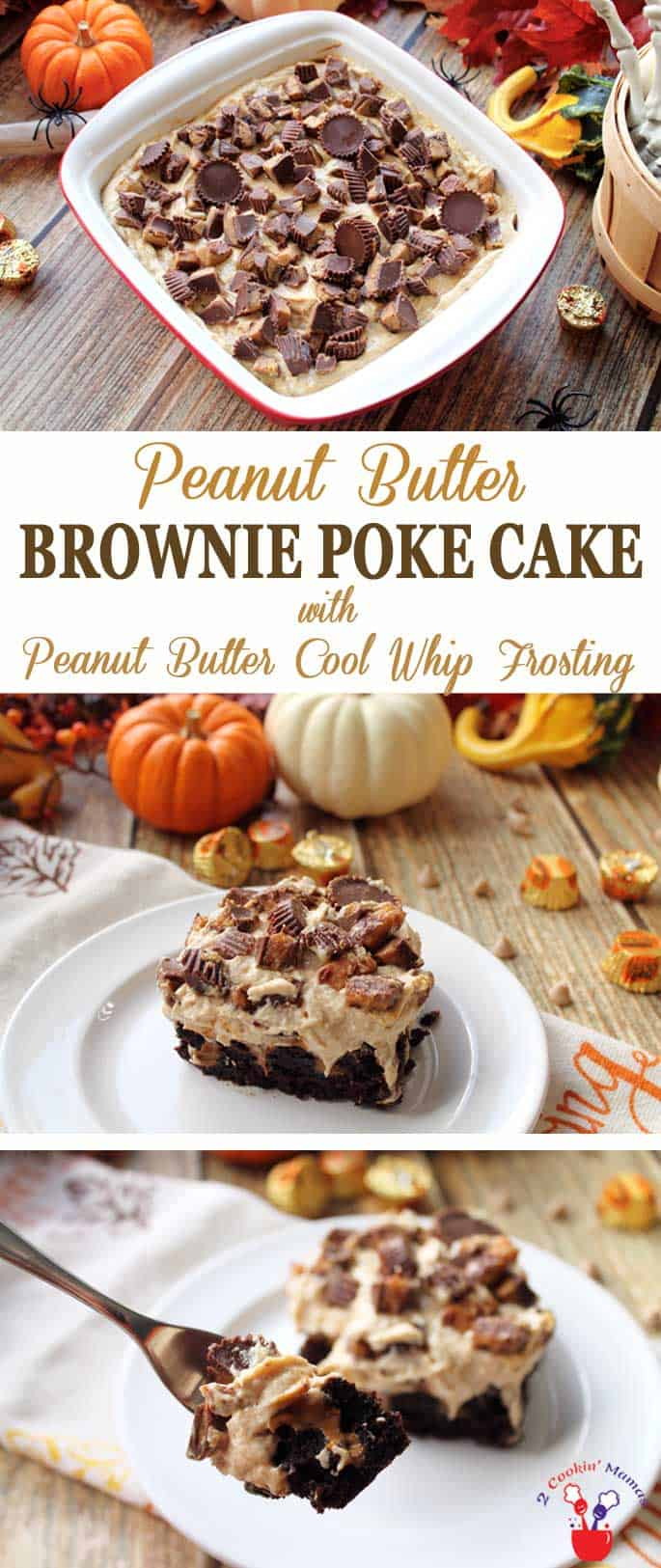 Peanut butter Brownie Poke Cake | 2 Cookin Mamas Calling all chocolate lovers! My Peanut Butter Brownie Poke Cake is the stuff dreams are made of. Rich, dense brownies are filled with peanut butter, spread with a fluffy peanut butter frosting and topped with everyone's favorite, Reese's Peanut Butter Cups. #recipe #dessert #chocolate #brownies