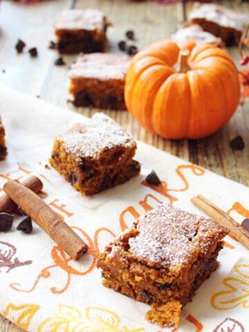 Pumpkin Chocolate Spice Bars square | 2 Cookin Mamas