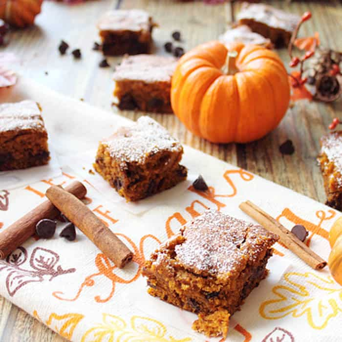 Pumpkin Chocolate Spice Bars square | 2 Cookin Mamas