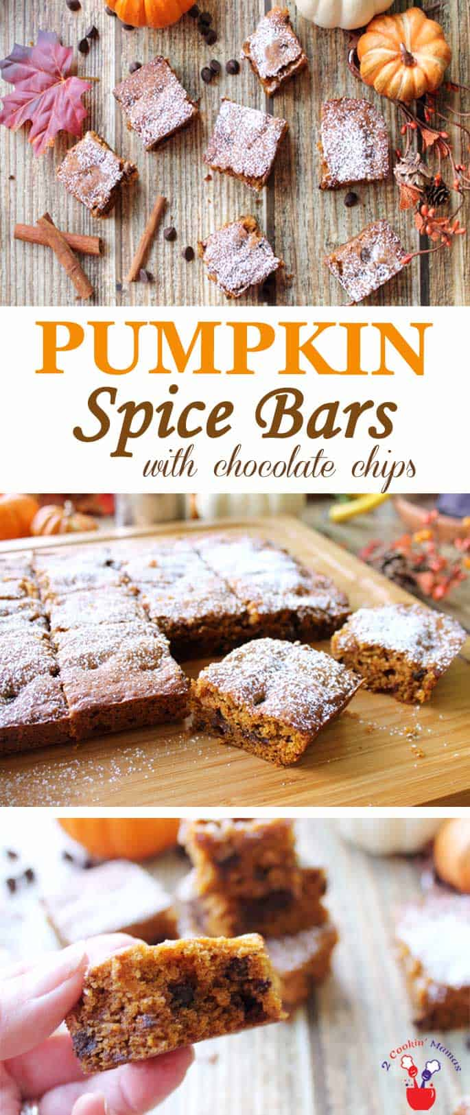 Pumpkin Chocolate Spice Bars | 2 Cookin Mamas Spicy, moist pumpkin chocolate spice bars, dotted with chocolate chips, will have you thinking fall is the best season of all. Quick & easy to make and great for snacks or dessert. #dessert #pumpkin #recipe