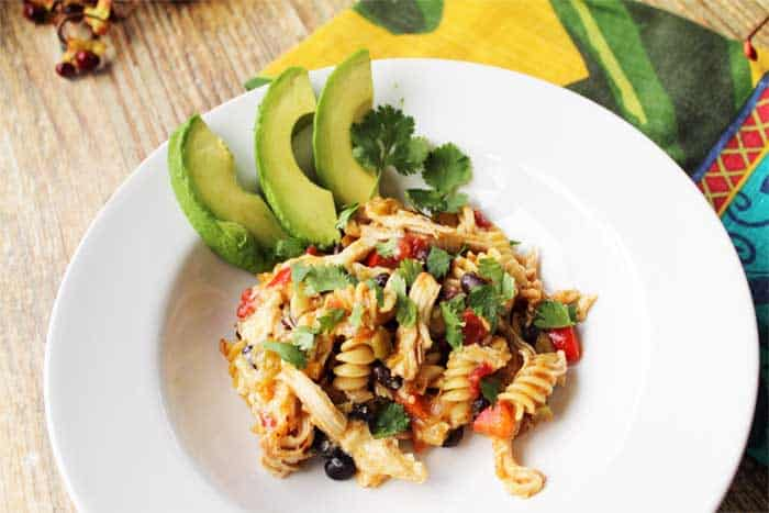 30 Minute Taco Pasta Skillet served | 2 Cookin Mamas