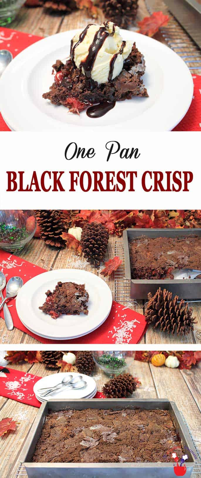 Black Forest Crisp | 2 Cookin Mamas Black Forest Crisp is a quick & easy cake that can be made in minutes. Just 6 ingredients & one pan yield a delicious crispy chocolate cake over a gooey cherry-pineapple-coconut filling. Great for holiday entertaining! #blackforestcake #chocolatecake #dumpcake #dessert #cake #Christmasdessert