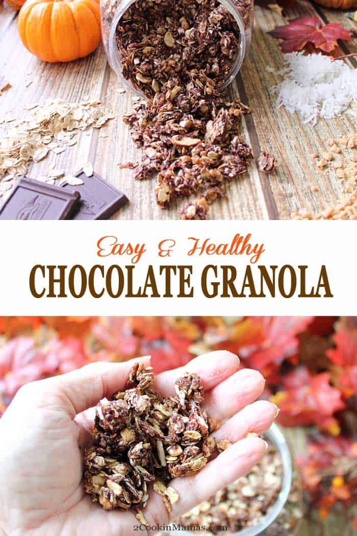 Homemade Chocolate Granola | 2 Cookin Mamas Who wouldn't love their favorite morning granola in chocolate? This Chocolate Granola is not only decadently chocolaty & flavored with toffee bits but full of healthy ingredients like oats, almonds, coconut and honey. Can you say dessert for breakfast anyone? #granola #breakfast #chocolate #recipe #almonds #toffeebits #coconut #healthy #snack