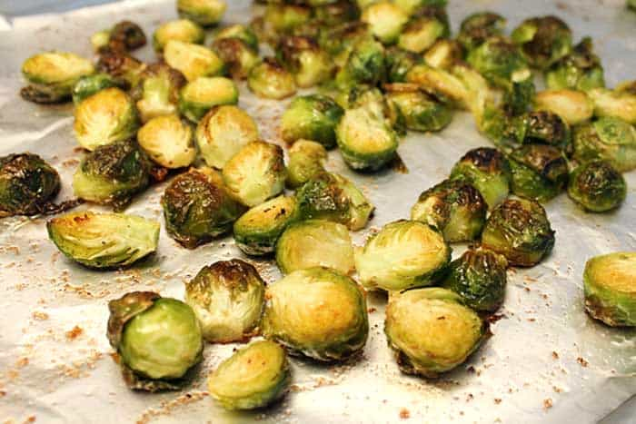 Maple Roasted Brussels Sprouts roasted closeup | 2 Cookin Mamas