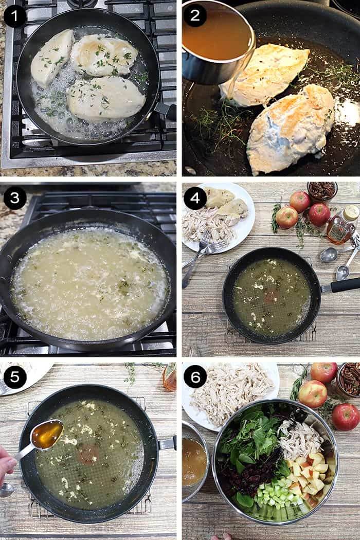 Steps to make poached apple cider chicken salad.