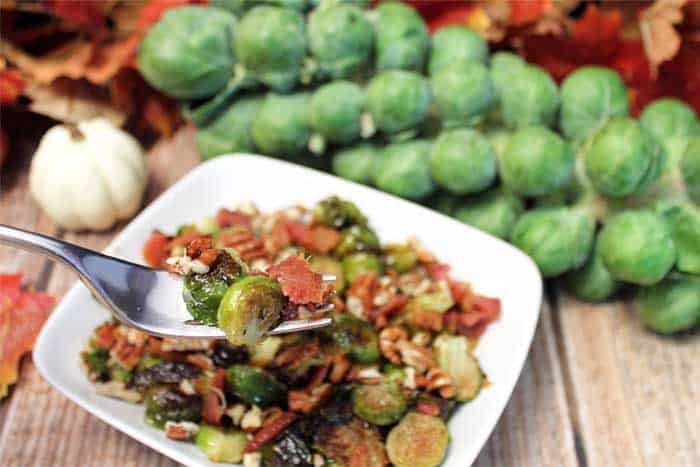 Maple Roasted Brussels Sprouts bite | 2 Cookin Mamas