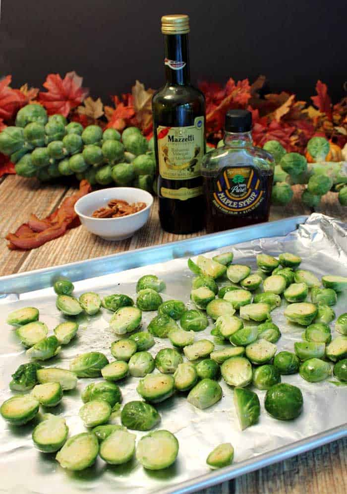 Maple Roasted Brussels Sprouts ready to roast | 2 Cookin Mamas