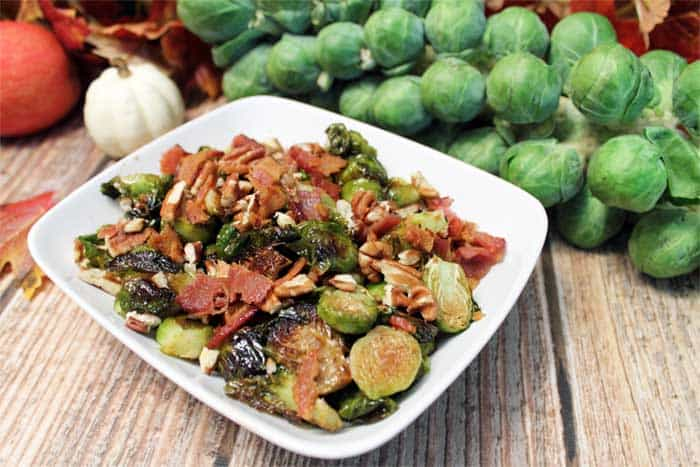Maple Roasted Brussels Sprouts served | 2 Cookin Mamas