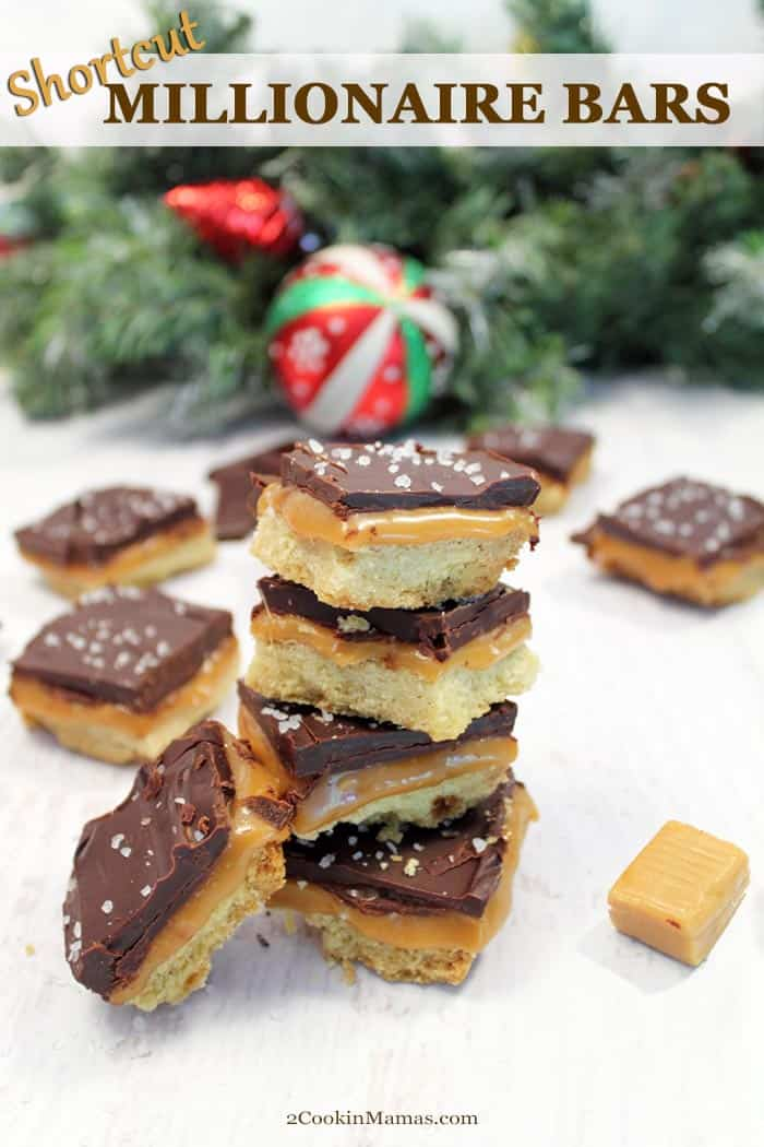 Delicious Shortcut Millionaire Cookie Bars have all that delicious buttery shortbread, creamy caramel and rich chocolate flavors that you look forward to in a millionaire bar but without all the hassle. #cookies #christmas #recipe #chocolate #caramel #shortbread #baking #easy #bars