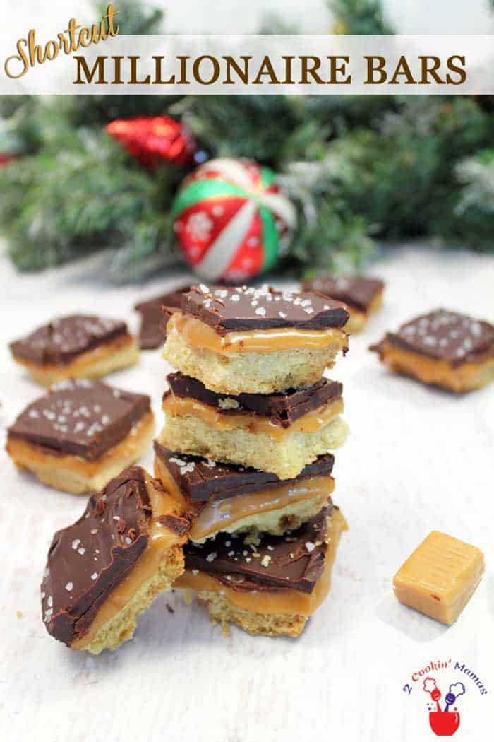 Shortcut Millionaire Cookie Bars | 2 Cookin Mamas Delicious Shortcut Millionaire Cookie Bars have all that delicious buttery shortbread, creamy caramel and rich chocolate flavors that you look forward to in a millionaire bar but without all the hassle. #cookies #christmascookies #recipe #chocolate #caramel #shortbread