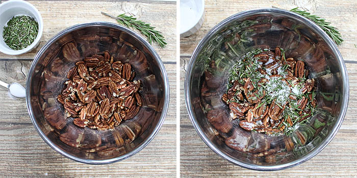 Steps to make Rosemary Pecans.