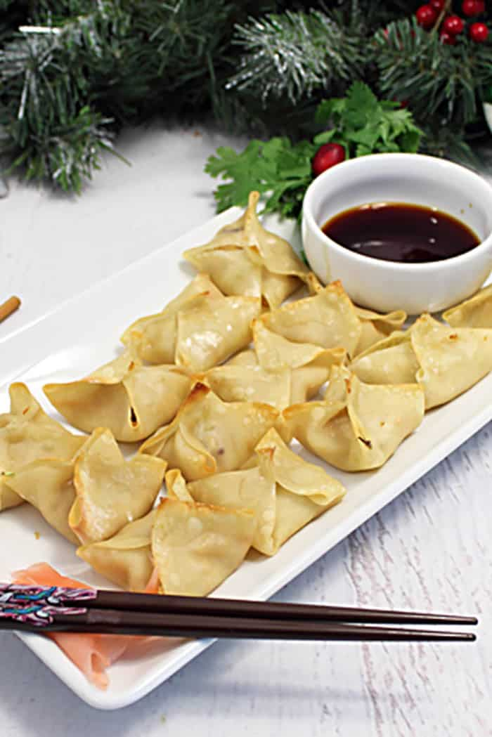 Wonton Bites on white plate with soy dipping sauce.