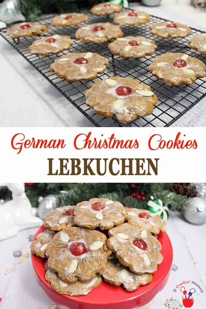 Lebkuchen | 2 Cookin Mamas Lebkuchen, a German Christmas cookie, is a spicy gingerbread-like cookie that is made with honey, spices and nuts. A soft, fragrant treat decorated with almonds and topped with a shiny sugar glaze. It will be the prettiest cookie on your table. #cookies #Christmascookies #recipe #Germancookie #honey #spicecookie