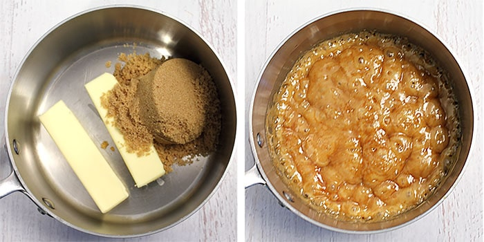 combining butter and sugar to make the caramel layer